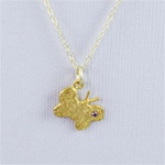 Hammered Gold Red Stone Butterfly Necklace
