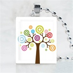Funky Tree-Colorful Tree Scrabble Game Tile Necklace
