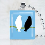 Love Bird Blue Scrabble Game Tile Necklace