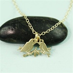 Gold Lovebird Charm Necklace