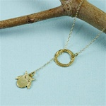 Gold Ring and Owl Charm Necklace