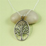 Large Silver Tree of Life Charm Necklace