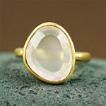 Gold Table Rose Quartz Ring