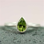Silver Pear Peridot Ring