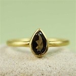 Gold Pear Smoky Quartz Ring