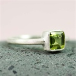 Silver Square Peridot Ring