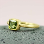 Gold Square Peridot Ring