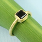 Gold Square Smoky Quartz Ring