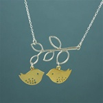 Silver Leaf Branch Gold Lovebird Necklace