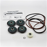 8536974 Complete Roller Support Kit with 4 rollers 1-belt 1 279840 pulley for Whirlpool