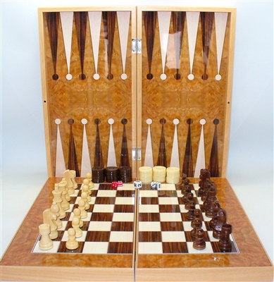 19 Quot Burl Wood Style Decoupage Backgammon Chess Board With