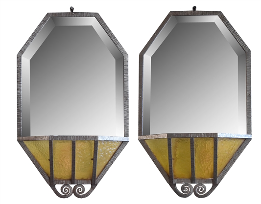 Pair of Fer Forge Mirrors with Pockets