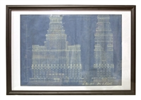 Early 20th Century Blue Print Drawing