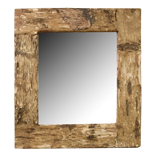 Birch Bark Frame with Mirror