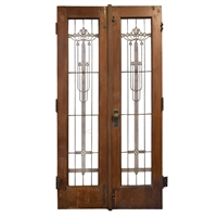 Early 20th Century American Prairie School Leaded Glass Doors