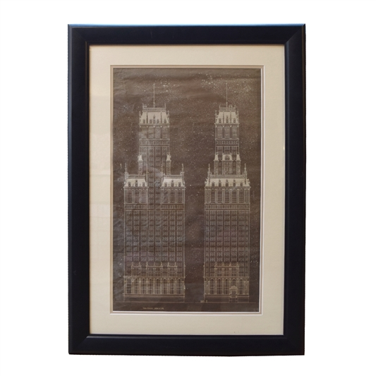 A framed Early 20th Century Hand-rendered Architectural Drawing