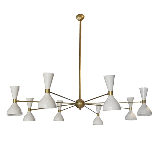 Italian Mid-Century Eight-Arm Chandelier in the style of Stilnovo
