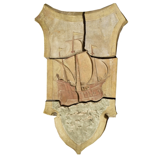 American Polychrome Terra Cotta Mosaic Ship Panel