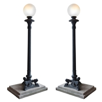 Pair Of Cast Iron Torchiere Lights