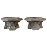 Pair of Carved Limestone Prairie School Planters