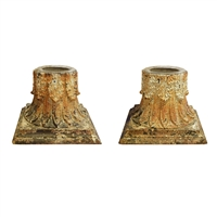 Pair of Cast Iron Capitals with Candles