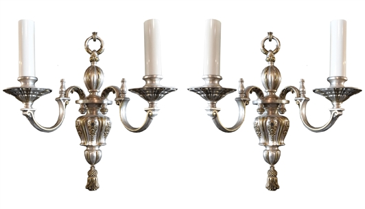 Pair of American Silver Wash Sconces