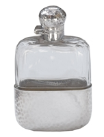 James Dixon & Sons Hammered Sterling and Crystal Flask