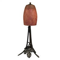 French Fer Forge Art Glass Lamp