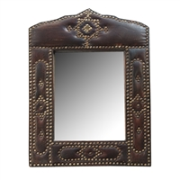 French Leather and Stud Mirror