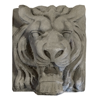 American Carved Limestone Lion Head