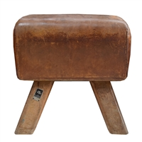 Wood and Leather Pommel Horse Bench