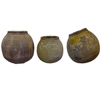 Set of Three French Terra Cotta Pots
