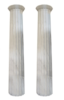 Pair of White Marble Doric Columns