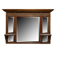 English Five Mirror Overmantel with Shelves