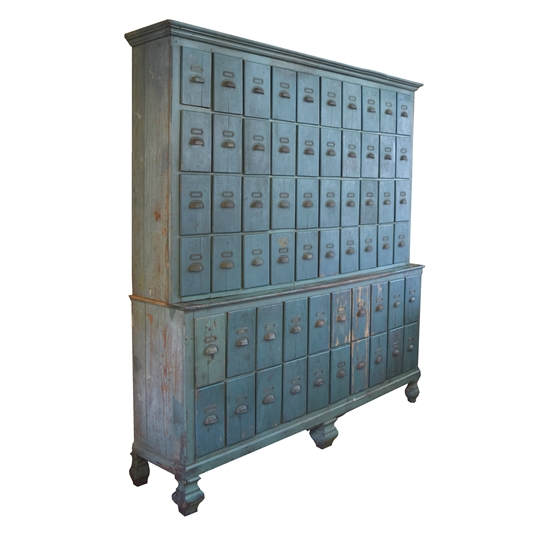 19th Century French Painted Cabinet with Vertical Drawers