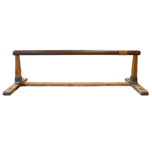 Wood and Leather Balance Beam