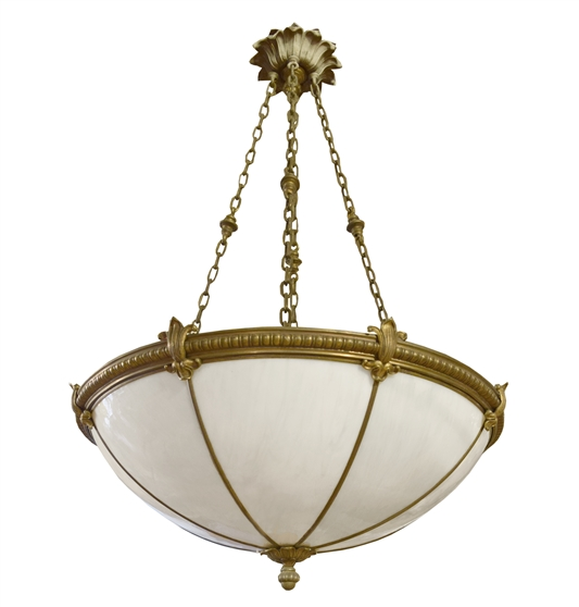 Set of Four Bronze and Glass Chandeliers