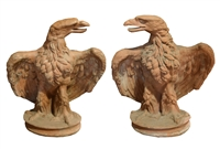 Pair of Terra Cotta Eagles