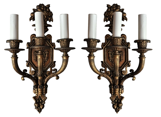 Pair of American Three-Arm Sconces