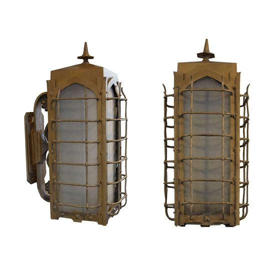 Pair of American Bronze Exterior Wall Sconces