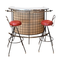 French Mid-Century Bar with Stools