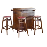 French Mid-Century Wood Cafe Bar with Stools