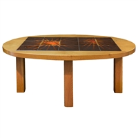 French Wood and Tile Coffee Table