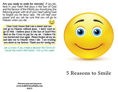 5 Reasons to Smille - Bulk Tracts - 100 pack