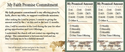 Faith Promise Commitment Card - 100 count