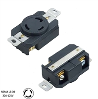 NEMA L5-30R, 30 Amp, 125 Volt, 2P, 3W, Flush Mounting Locking Receptacle, Industrial Grade, Grounding