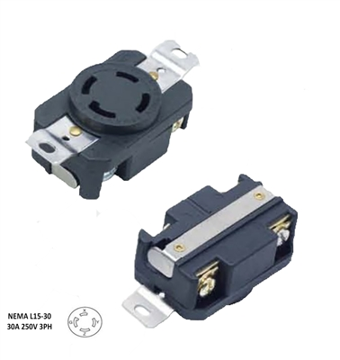 NEMA L15-30R, 30 Amp, 250 Volt, 3 Phase, 3P, 4W, Flush Mounting Locking Receptacle, Grounding