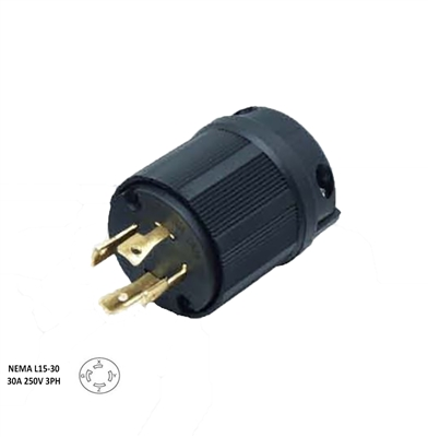 Cords and Components L15-30P - 30 Amp, 250 Volt, 3 Phase, NEMA L15-30P, 3P, 4W, Locking Plug, Industrial Grade, Grounding