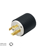 Cords and Components L14-30P - 30 Amp, 125/250 Volt, NEMA L14-30P, 3P, 4W, Locking Plug, Industrial Grade, Grounding - BLACK-WHITE