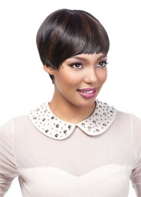 SYNTHETIC SHORT FULL CAP WIG WITH BANGS -COCO